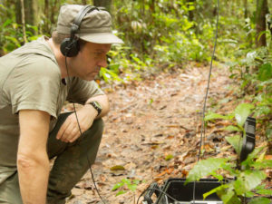 Marcus Maeder working at a Recording Station in the Amazon Rainforest
